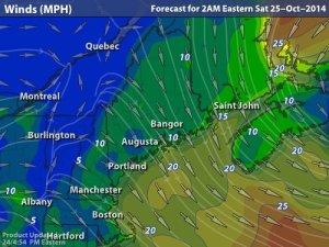 wind forecast, overnight